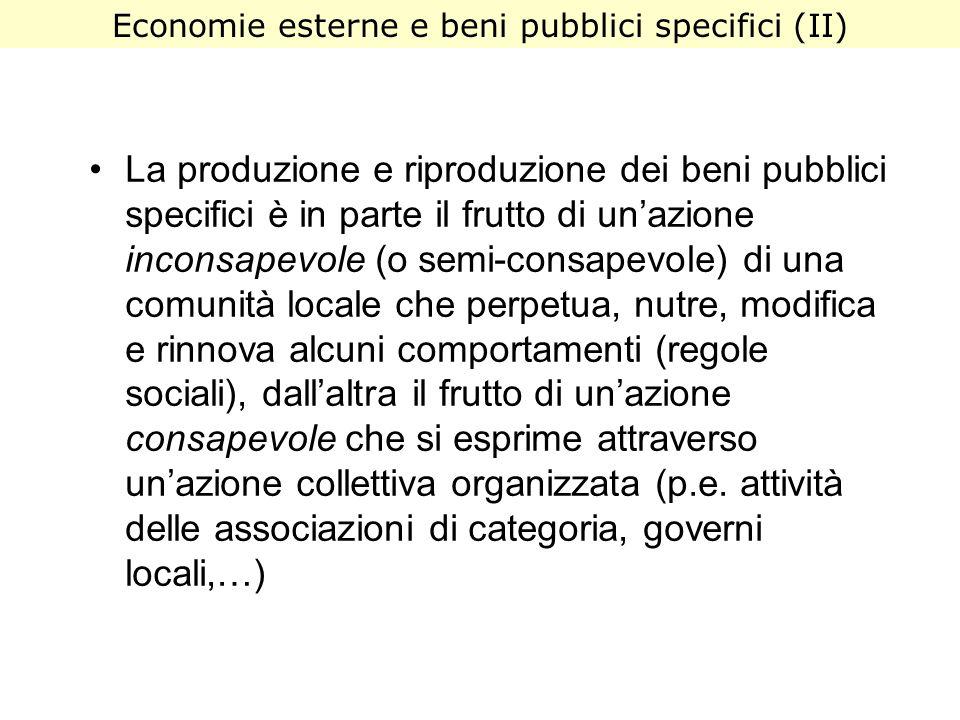 Economie esterne e beni pubblici specifici (II)