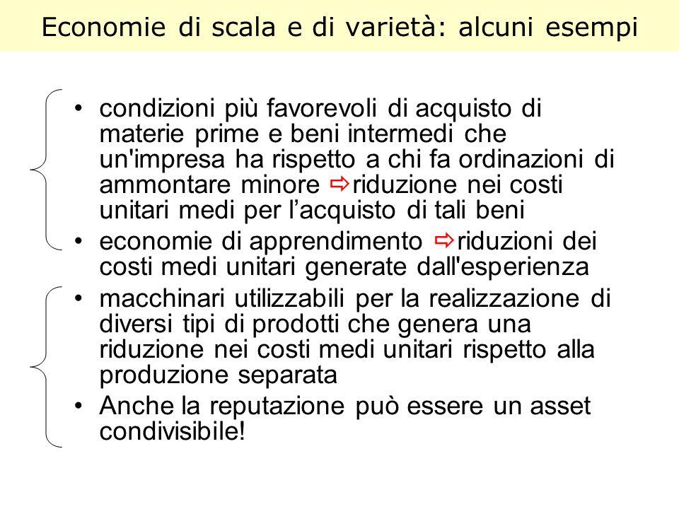 Economie di scala e di varietà: alcuni esempi