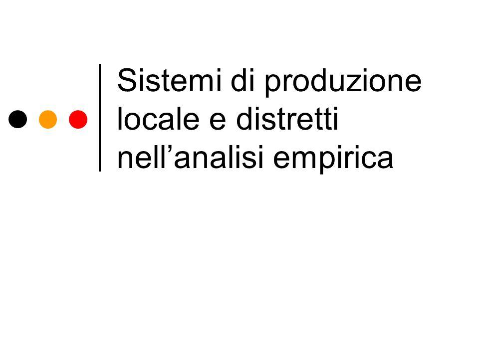 Sistemi di produzione locale e distretti nell'analisi empirica