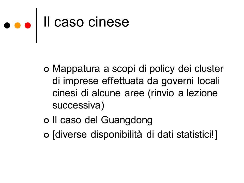 Il caso cinese Mappatura a scopi di policy dei cluster di imprese effettuata da governi locali cinesi di alcune aree (rinvio a lezione successiva)
