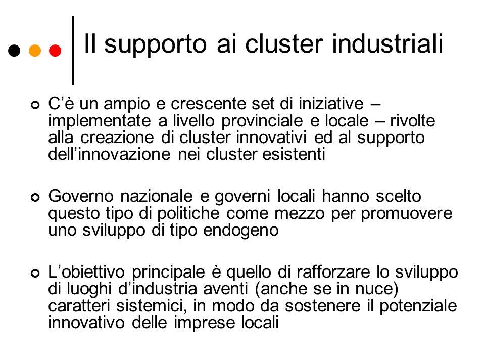 Il supporto ai cluster industriali