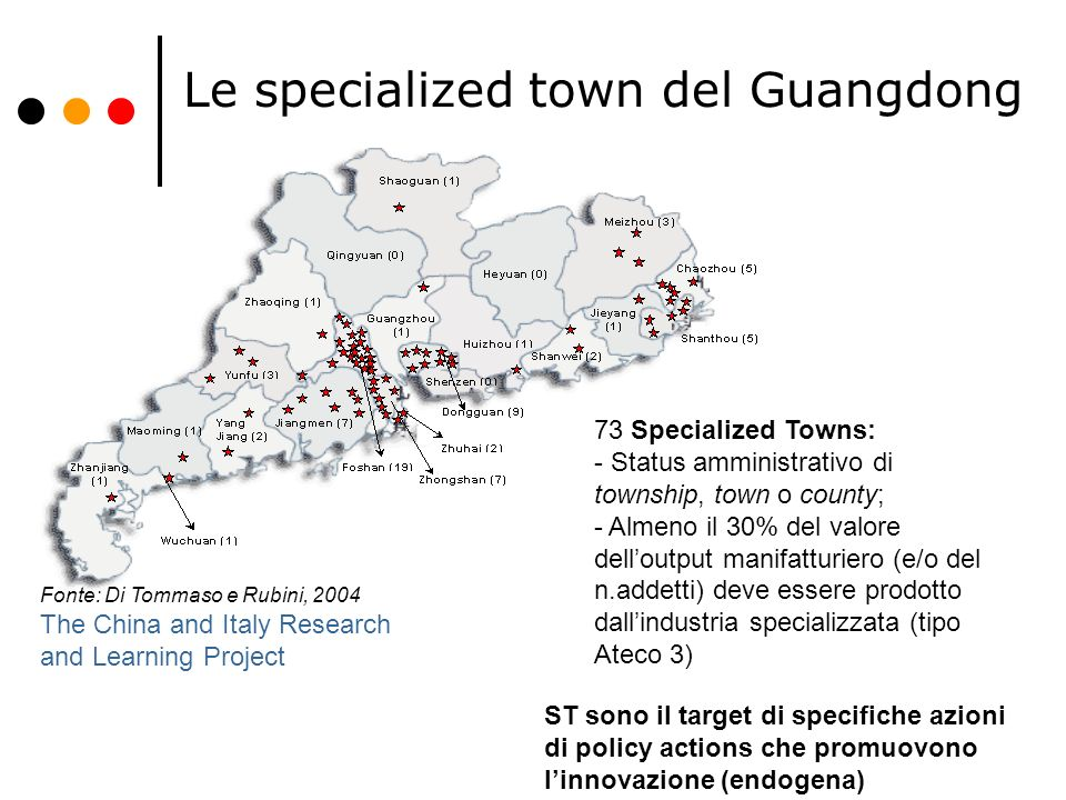 Le specialized town del Guangdong
