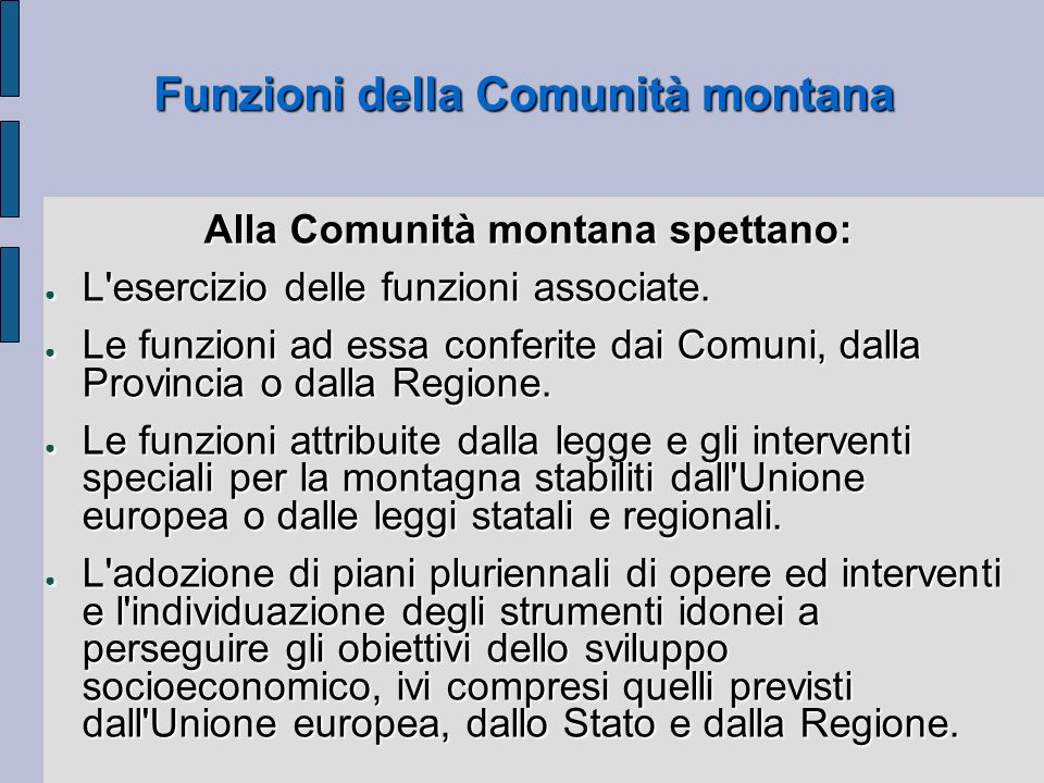 Funzioni della Comunità montana
