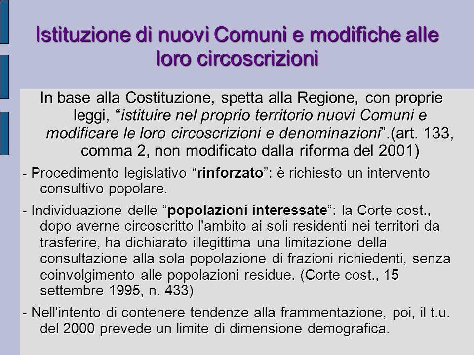 Istituzione di nuovi Comuni e modifiche alle loro circoscrizioni