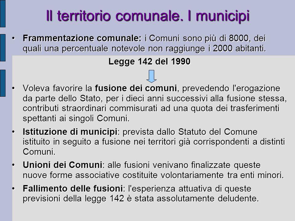 Il territorio comunale. I municipi