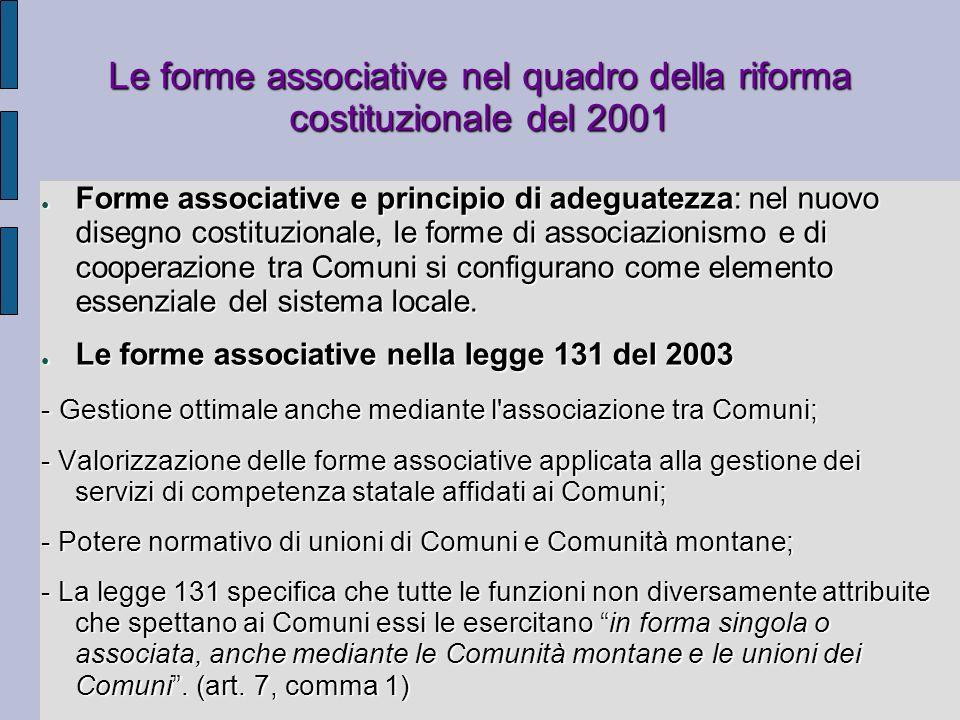 Le forme associative nel quadro della riforma costituzionale del 2001
