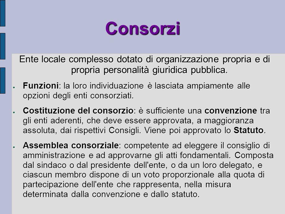 Consorzi Ente locale complesso dotato di organizzazione propria e di propria personalità giuridica pubblica.