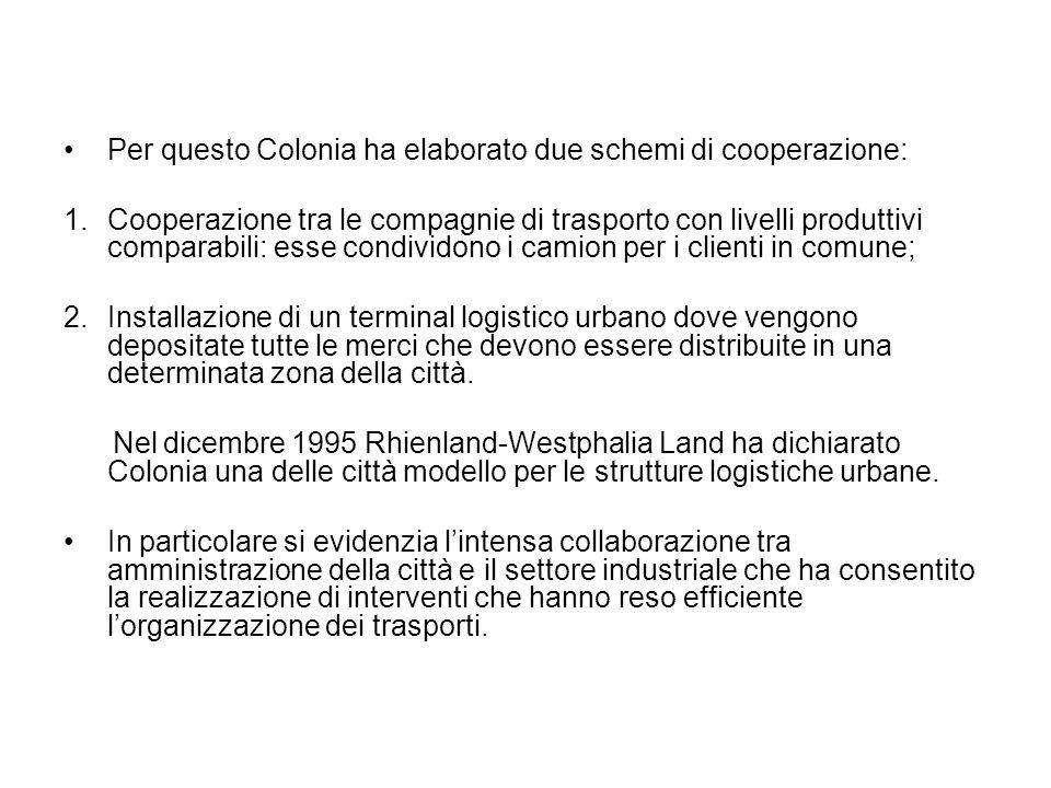 Per questo Colonia ha elaborato due schemi di cooperazione: