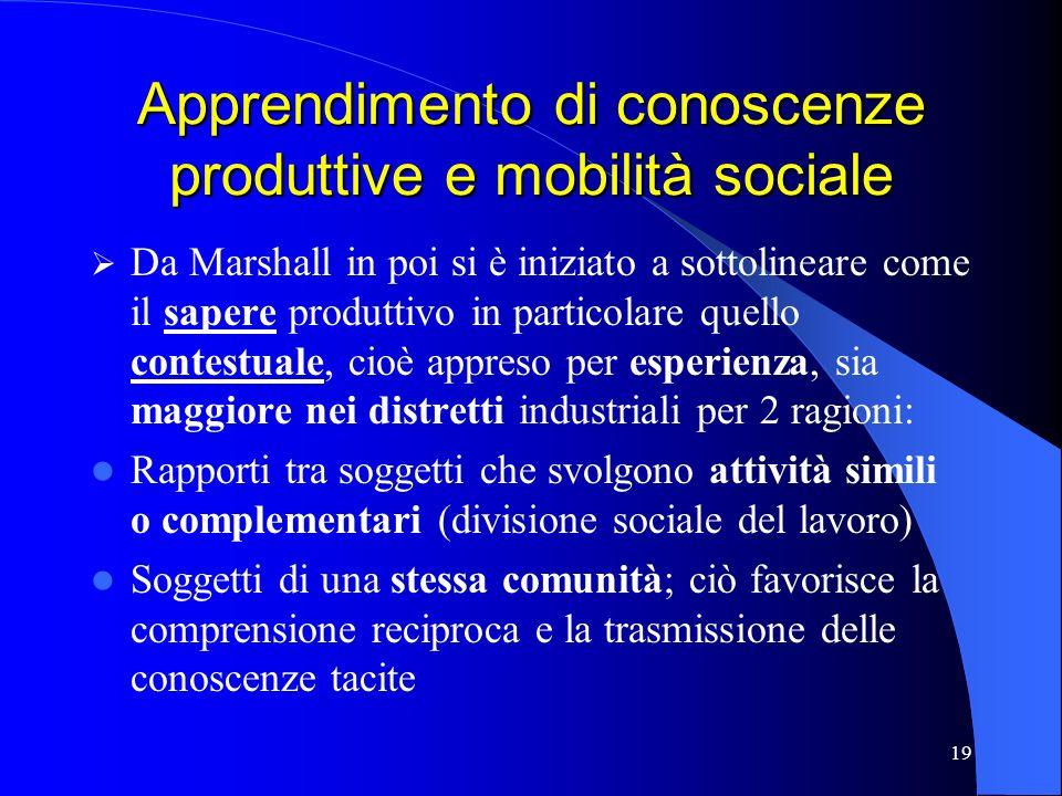 Apprendimento di conoscenze produttive e mobilità sociale