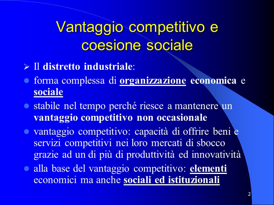 Vantaggio competitivo e coesione sociale