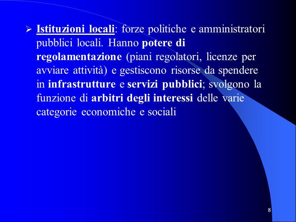 Istituzioni locali: forze politiche e amministratori pubblici locali