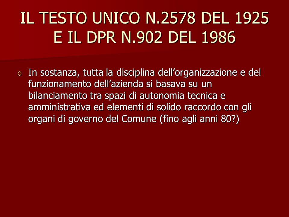IL TESTO UNICO N.2578 DEL 1925 E IL DPR N.902 DEL 1986