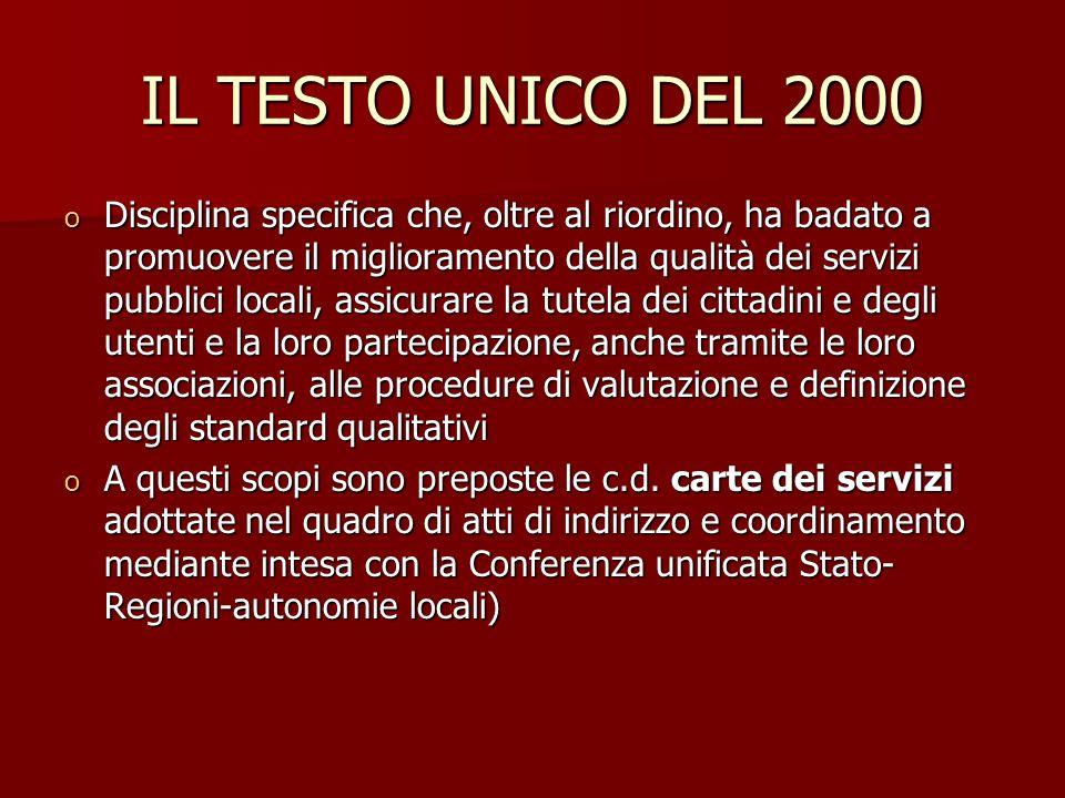 IL TESTO UNICO DEL 2000