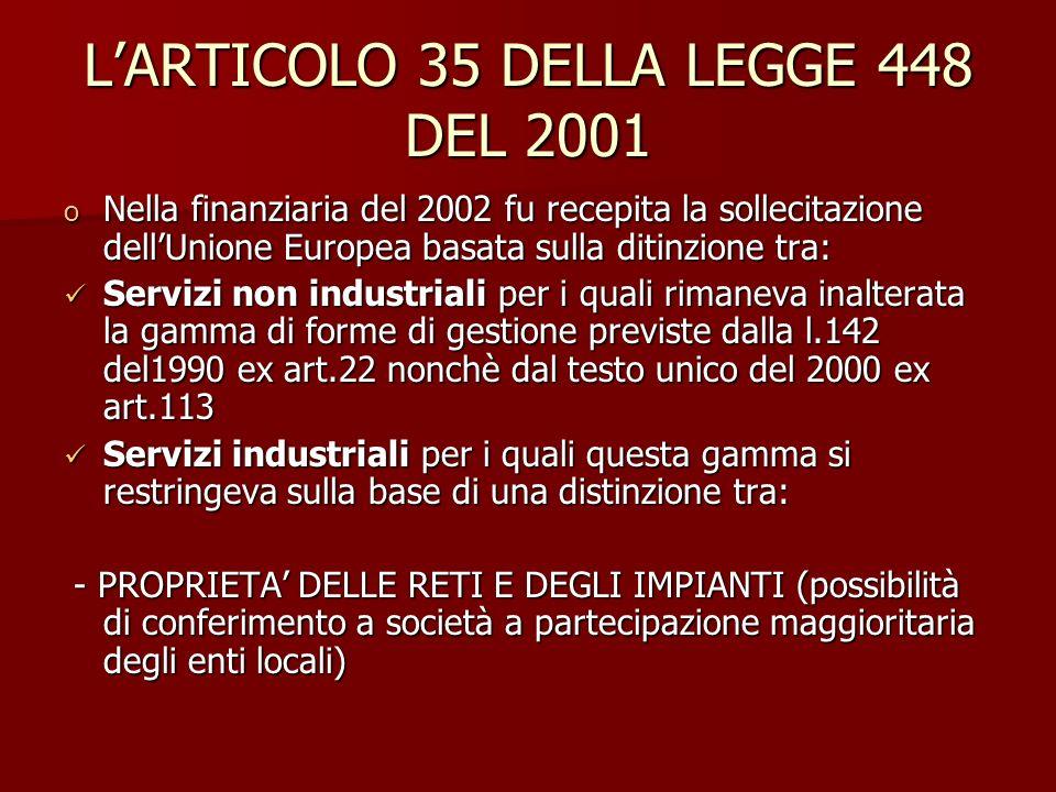L'ARTICOLO 35 DELLA LEGGE 448 DEL 2001