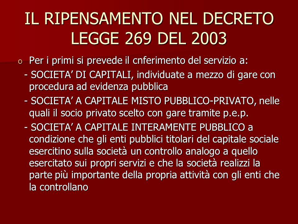 IL RIPENSAMENTO NEL DECRETO LEGGE 269 DEL 2003