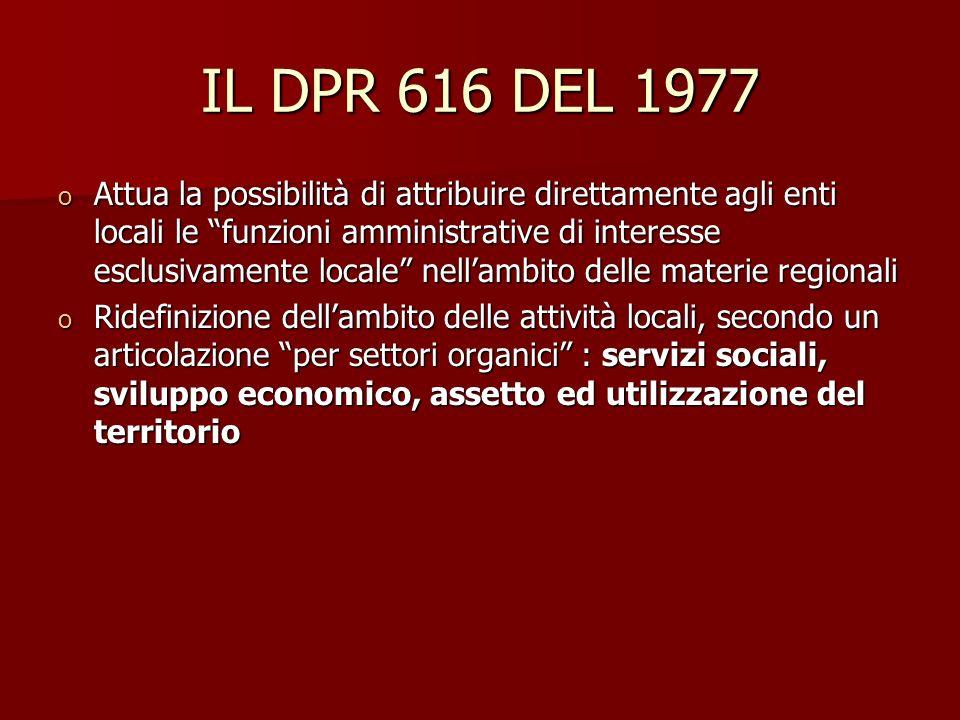 IL DPR 616 DEL 1977