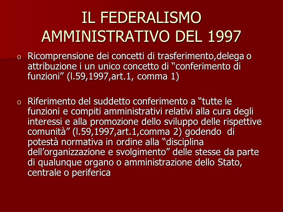 IL FEDERALISMO AMMINISTRATIVO DEL 1997