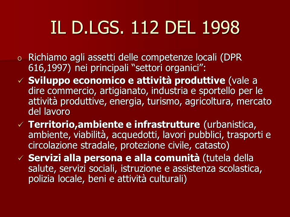 IL D.LGS. 112 DEL 1998 Richiamo agli assetti delle competenze locali (DPR 616,1997) nei principali settori organici :