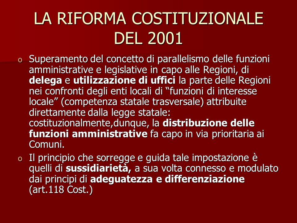 LA RIFORMA COSTITUZIONALE DEL 2001