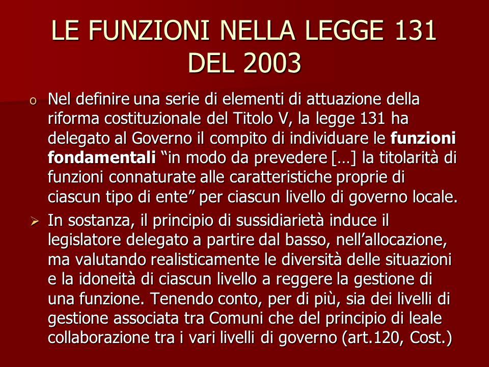 LE FUNZIONI NELLA LEGGE 131 DEL 2003