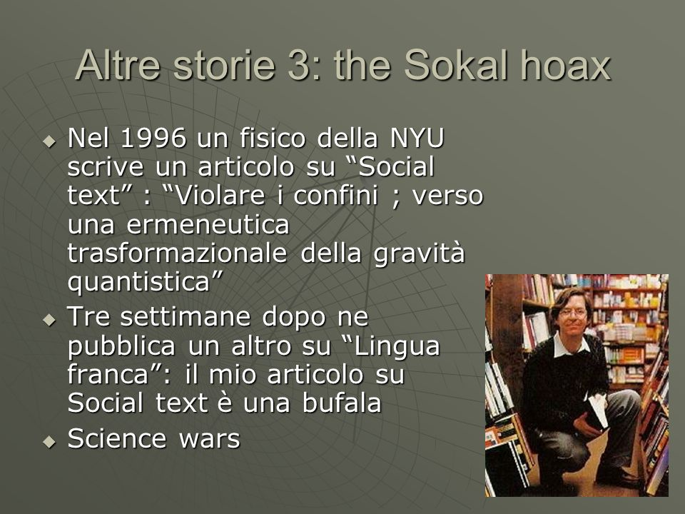 Altre storie 3: the Sokal hoax