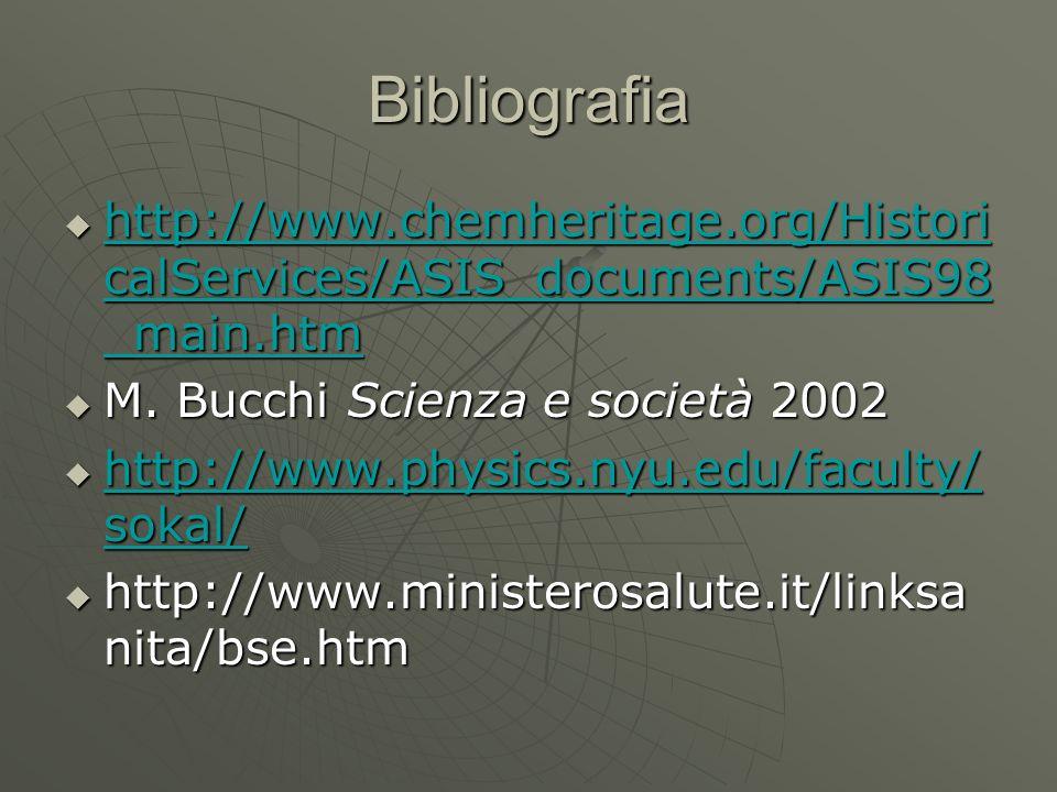 Bibliografiahttp://www.chemheritage.org/HistoricalServices/ASIS_documents/ASIS98_main.htm. M. Bucchi Scienza e società 2002.