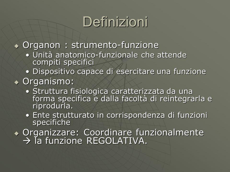 Definizioni Organon : strumento-funzione Organismo: