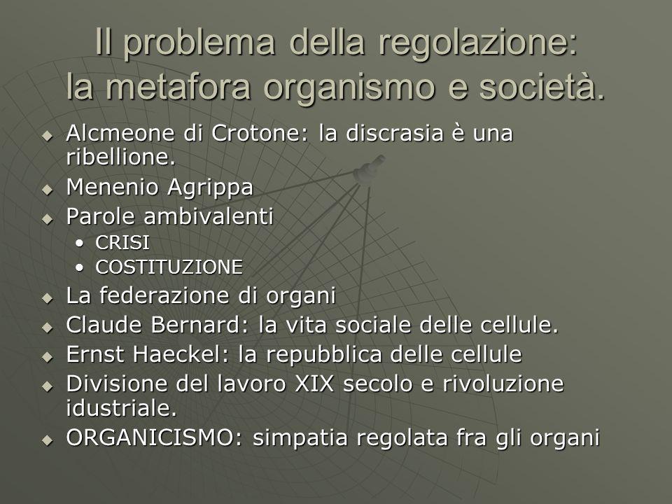Il problema della regolazione: la metafora organismo e società.