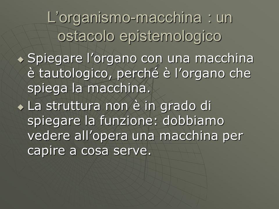 L'organismo-macchina : un ostacolo epistemologico