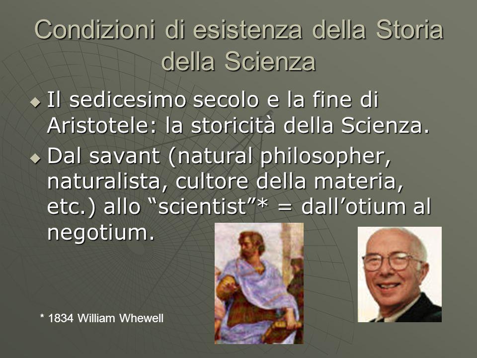 Condizioni di esistenza della Storia della Scienza