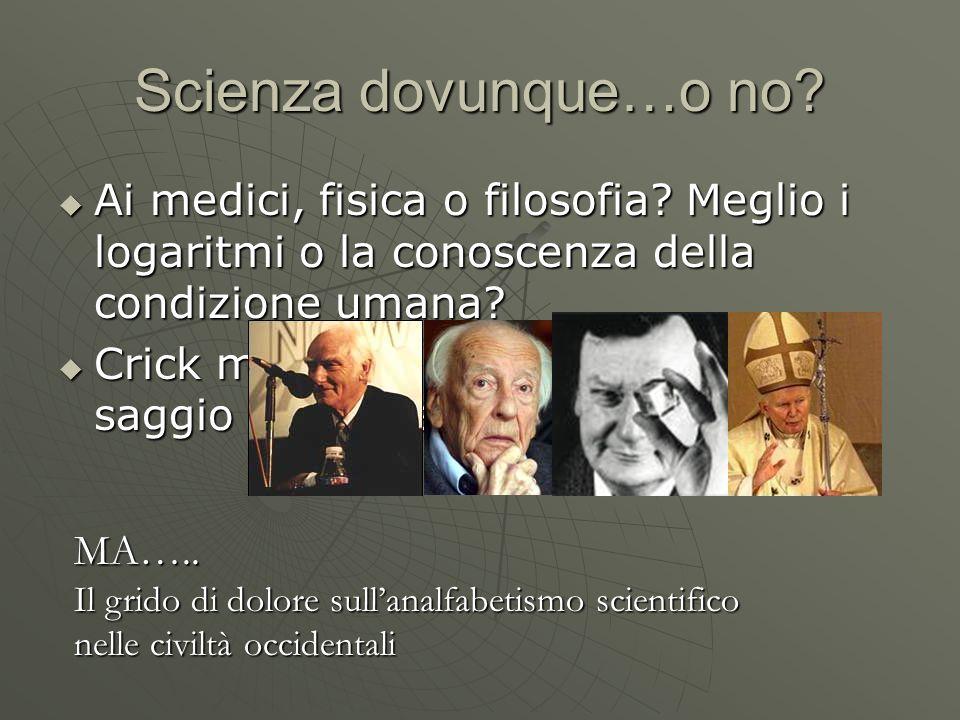 Scienza dovunque…o no Ai medici, fisica o filosofia Meglio i logaritmi o la conoscenza della condizione umana