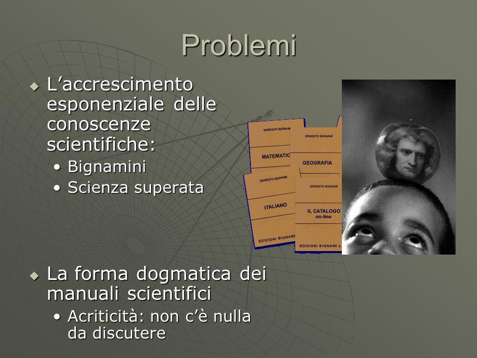 Problemi L'accrescimento esponenziale delle conoscenze scientifiche: