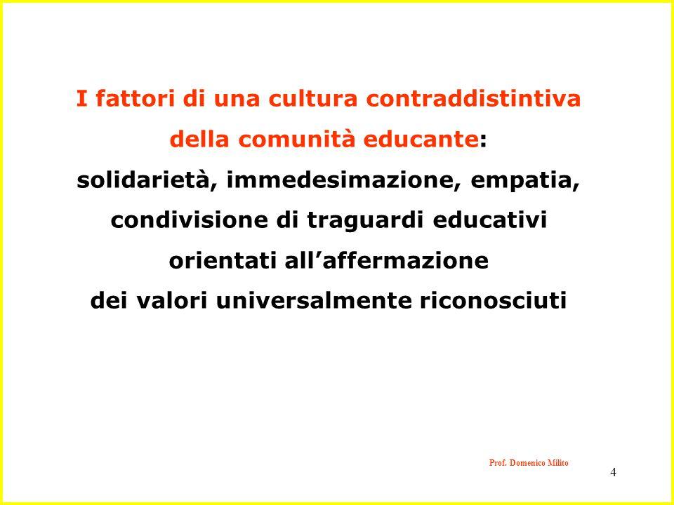 I fattori di una cultura contraddistintiva della comunità educante: