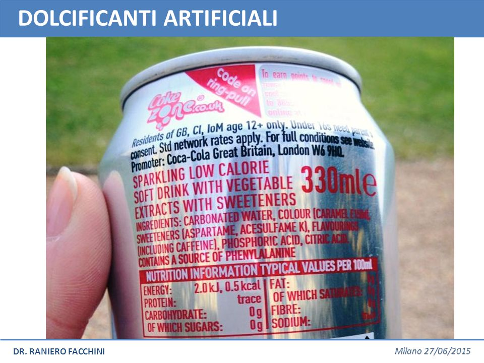 DOLCIFICANTI ARTIFICIALI