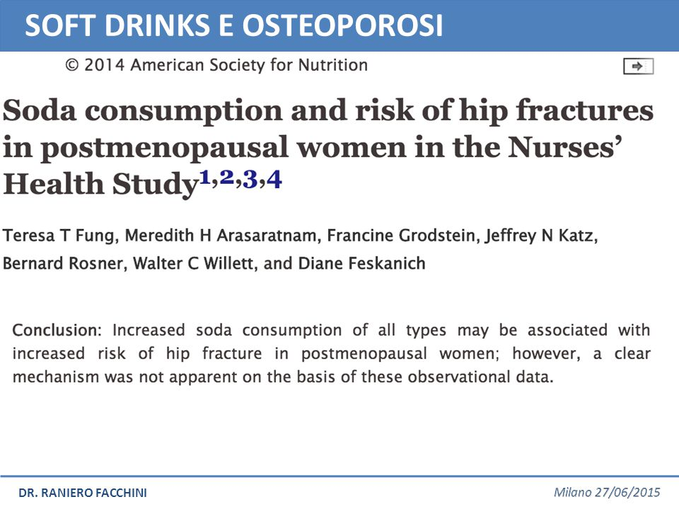 SOFT DRINKS E OSTEOPOROSI