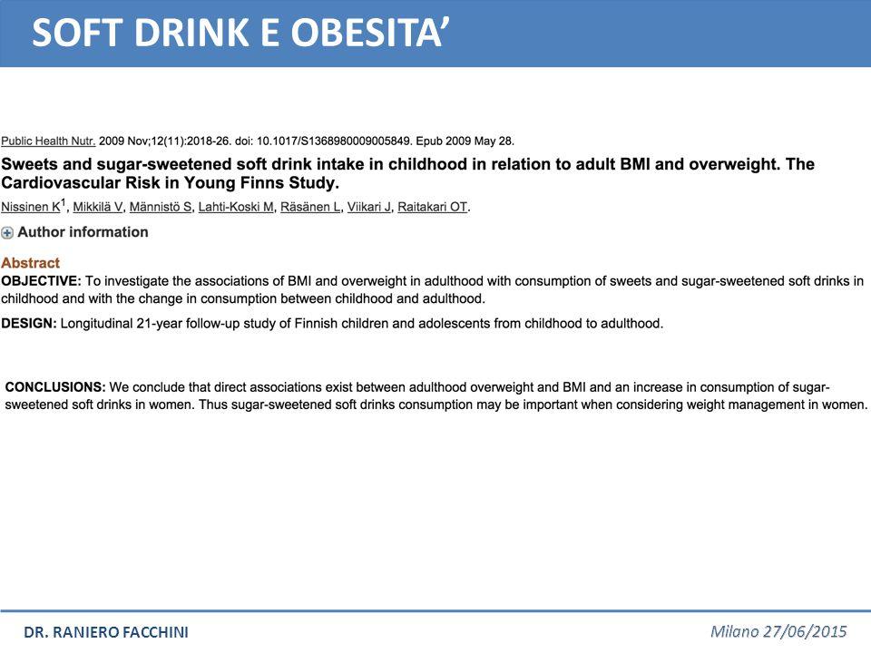 SOFT DRINK E OBESITA'