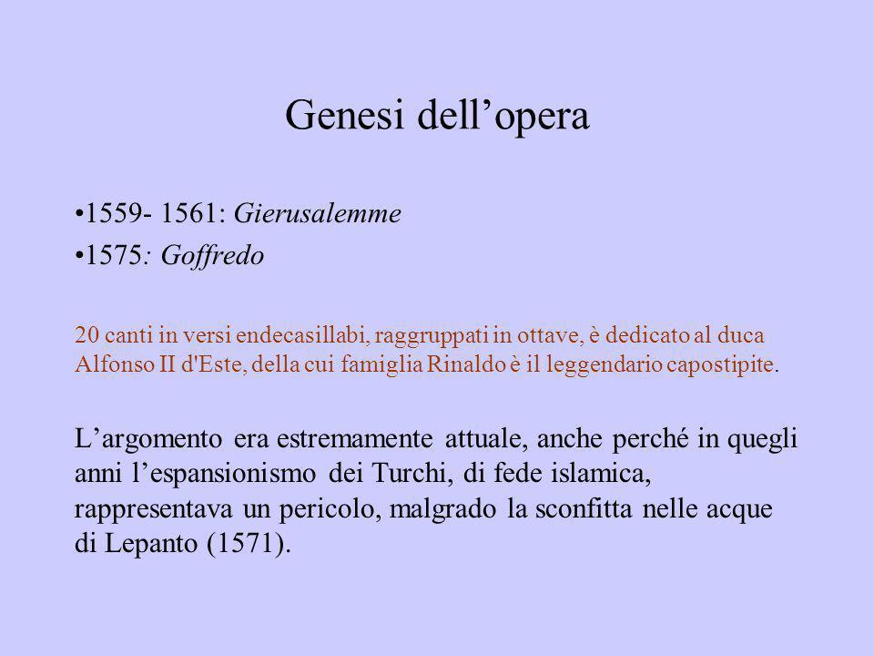 Genesi dell'opera 1559- 1561: Gierusalemme 1575: Goffredo