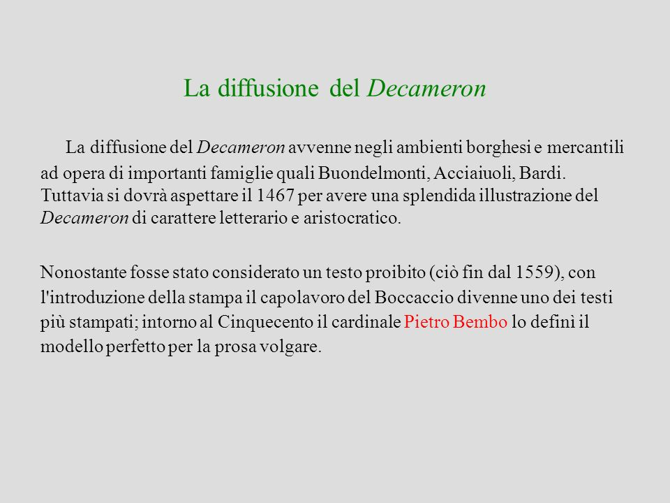 La diffusione del Decameron