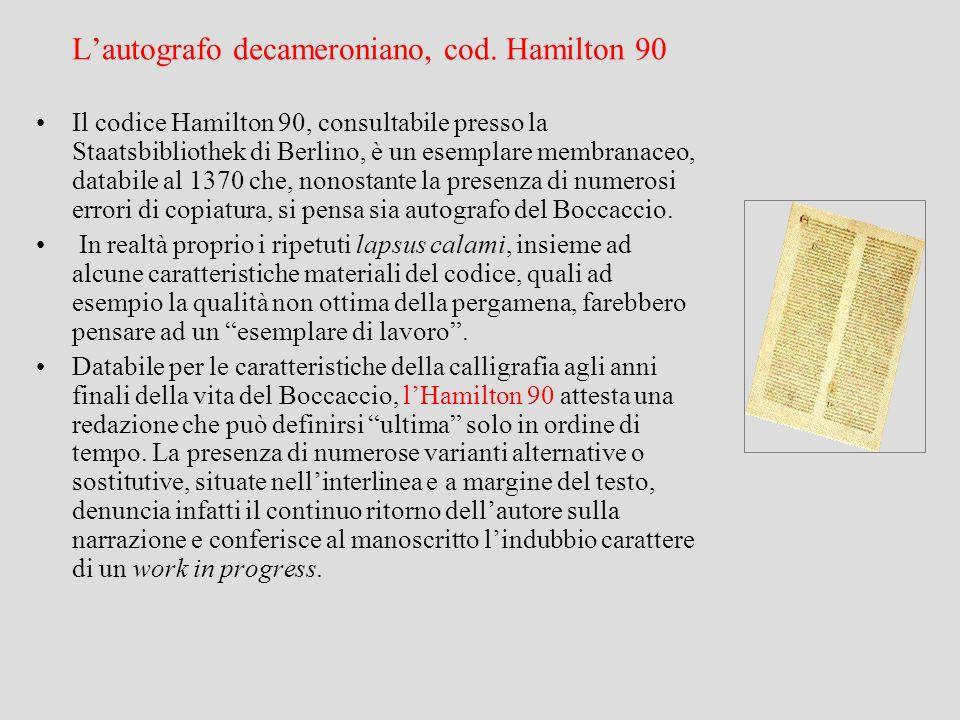 L'autografo decameroniano, cod. Hamilton 90