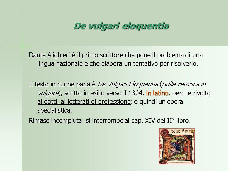 De vulgari eloquentia Dante Alighieri è il primo scrittore che pone il problema di una lingua nazionale e che elabora un tentativo per risolverlo.