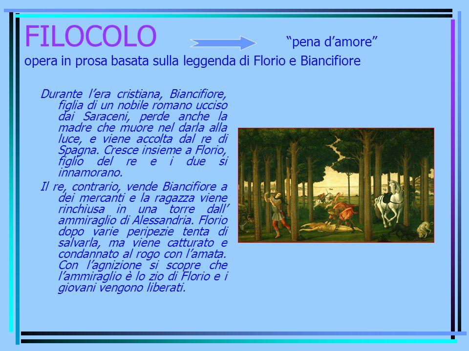 FILOCOLO pena d'amore opera in prosa basata sulla leggenda di Florio e Biancifiore