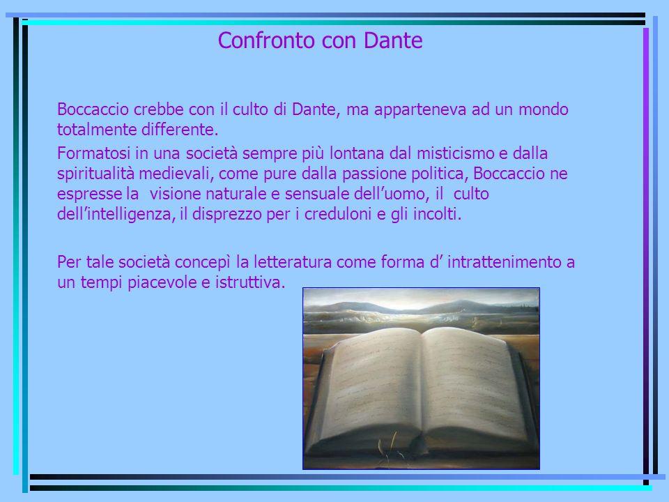 Confronto con Dante Boccaccio crebbe con il culto di Dante, ma apparteneva ad un mondo totalmente differente.