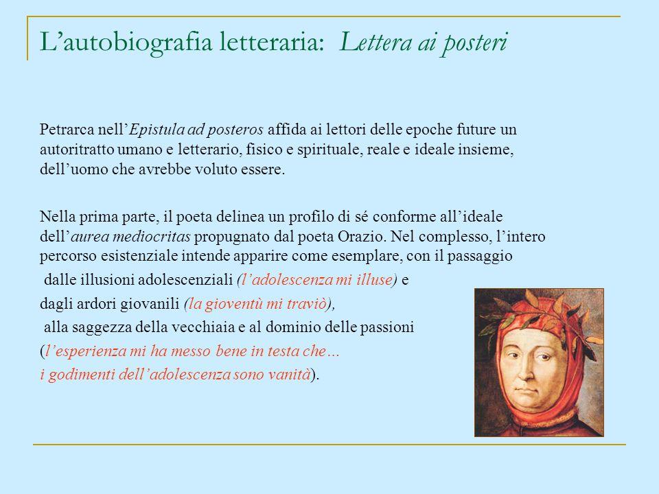 L'autobiografia letteraria: Lettera ai posteri