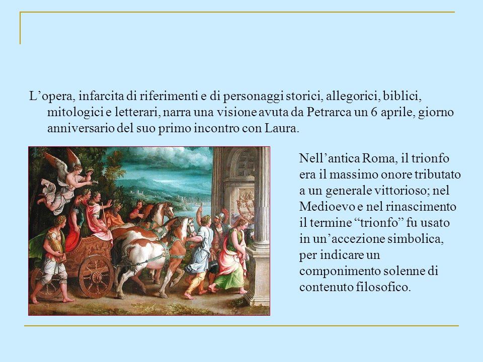 L'opera, infarcita di riferimenti e di personaggi storici, allegorici, biblici, mitologici e letterari, narra una visione avuta da Petrarca un 6 aprile, giorno anniversario del suo primo incontro con Laura.