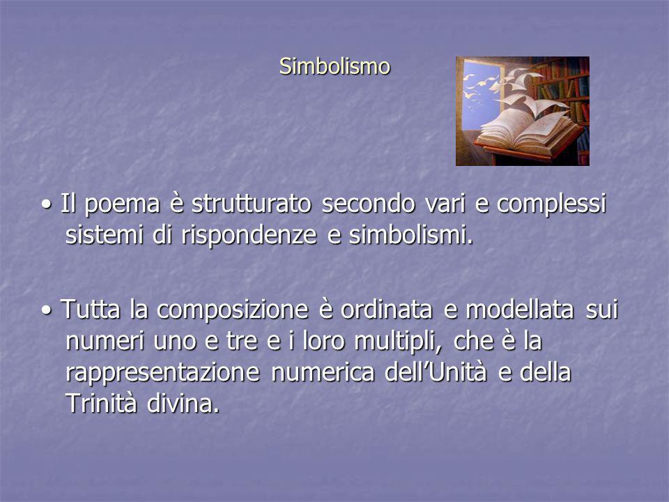 Simbolismo • Il poema è strutturato secondo vari e complessi sistemi di rispondenze e simbolismi.