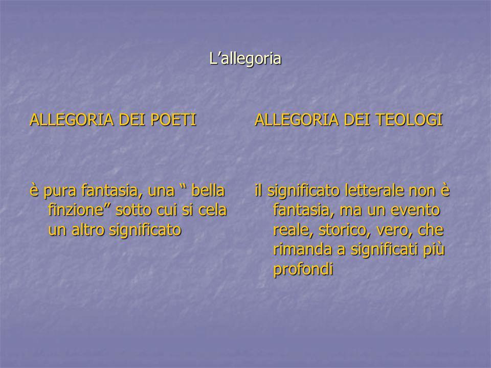 L'allegoria ALLEGORIA DEI POETI. è pura fantasia, una bella finzione sotto cui si cela un altro significato.