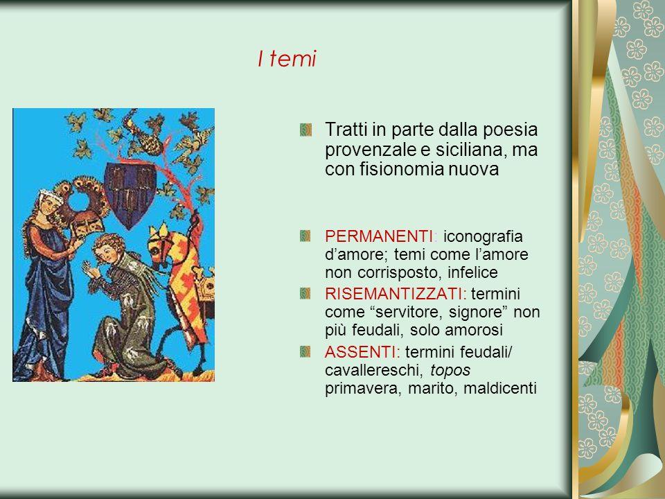 I temi Tratti in parte dalla poesia provenzale e siciliana, ma con fisionomia nuova.