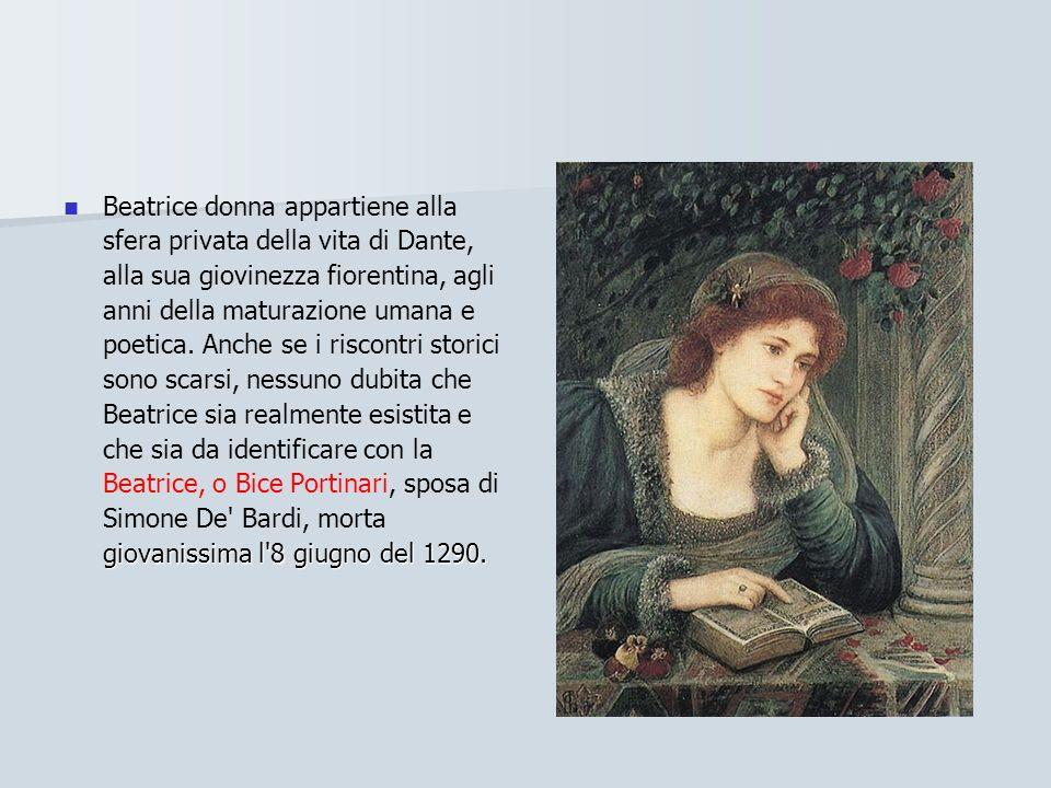 Beatrice donna appartiene alla sfera privata della vita di Dante, alla sua giovinezza fiorentina, agli anni della maturazione umana e poetica.