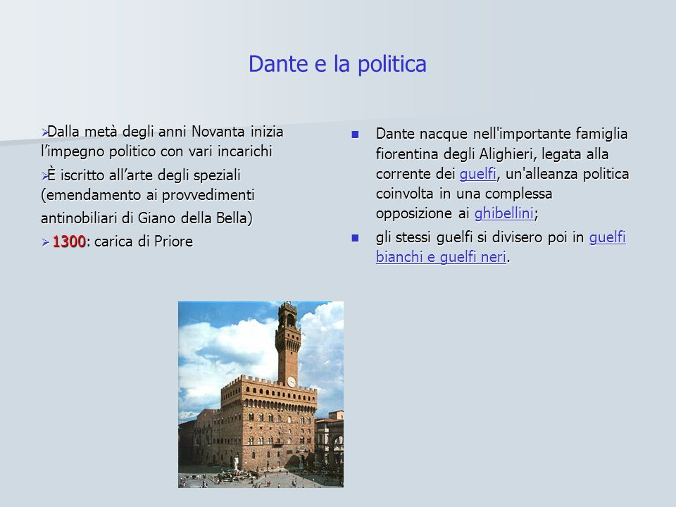 Dante e la politica Dalla metà degli anni Novanta inizia l'impegno politico con vari incarichi.