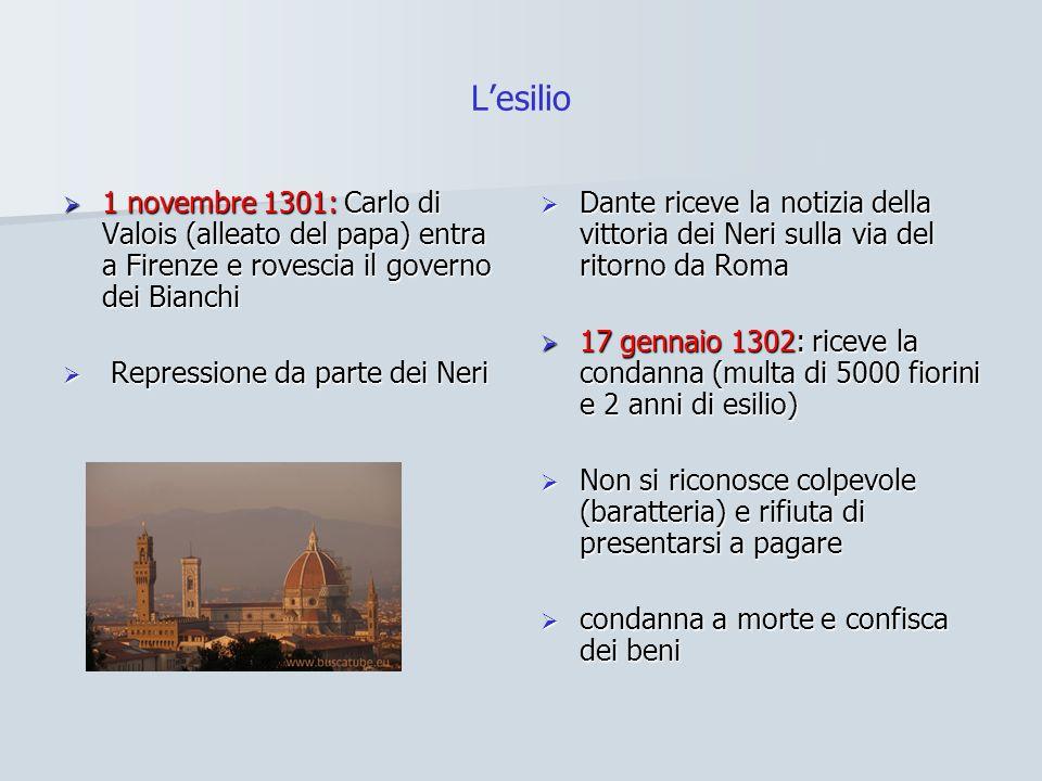 L'esilio 1 novembre 1301: Carlo di Valois (alleato del papa) entra a Firenze e rovescia il governo dei Bianchi.